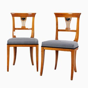 Antique Biedermeier Chairs in Cherry, Set of 2