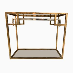 Art Deco Gold and Chrome Console Table