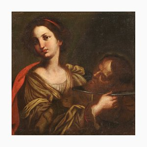 Antique Italian Painting of Salome with the Head of John the Baptist, 17th Century