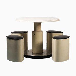 Tisch und Stühle im Stil von Joe Colombo, 1970er, 5er Set