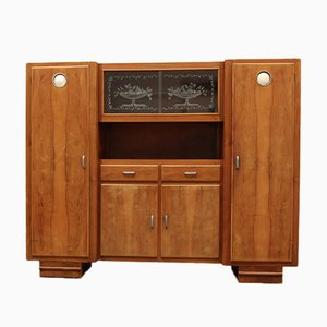 Mid-Century Cabinet in Wood with Showcase