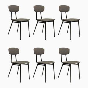 Mid-Century Stühle mit Metallrohrgestell & hellgrauem Stoff, 6er Set
