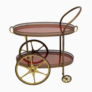 Vintage French Brass Drinks Trolley, 1960s