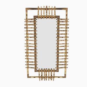 Rechteckiger Spiegel aus Bambus & Rattan, Italien, 1950er