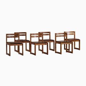 Dänische Moderne Esszimmerstühle aus Kiefernholz & Leder von Knud Færch für Sorø Stolefabrik, 1970er, 12er Set