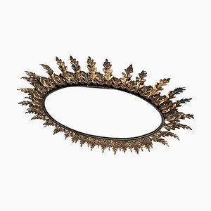 Specchio ovale a forma di sole in quercia, anni '50