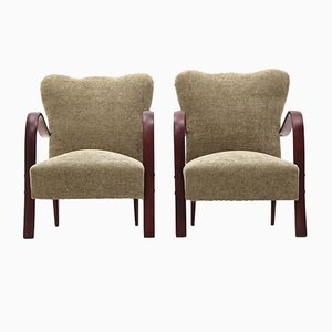 Armchairs with Curved Wood Armrests, 1940s, Set of 2