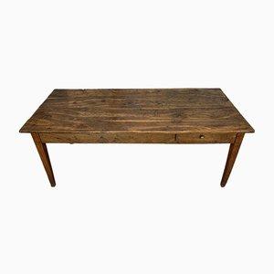 Bauerntisch aus Eiche & Kirschholz mit 1 Schublade und konischen Beinen, 19. Jh