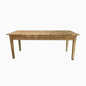 French Rustic Pine Taper Leg Kitchen or Dining Table