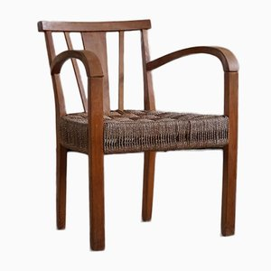 Danish Modern Lounge Chair in Beech and Papercord in the Style of Frits Schlegel, 1930s