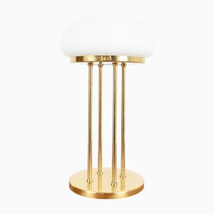 Art Deco Copper Table Lamp with Glass Shade