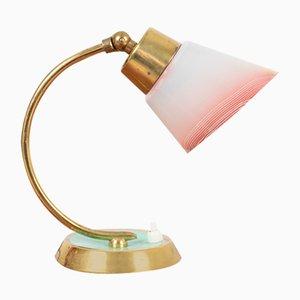 Petite Lampe de Bureau en Cuivre avec Abat-Jour en Verre de Meissen, 1950s
