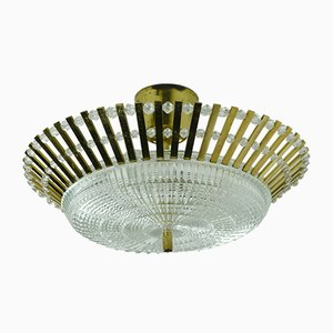 Mid-Century Hollywood Regency Style Ceiling Lamp in Brass, Glass & Acrylic Glass by Christoph Palme for Palwa, 1960s