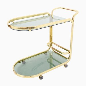 Rolling Copper Drinks Trolley with Smoked Glass, 1970s