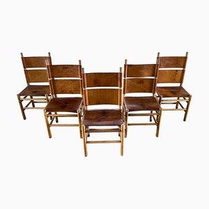 Chaises de Salle à Manger Kentucky en Cuir Cognac et Noyer par Carlo Scarpa pour Bernini, 1977, Set de 5