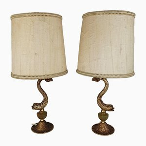 Hollywood Regency Koi Fish Table Lamps, 1970s, Set of 2