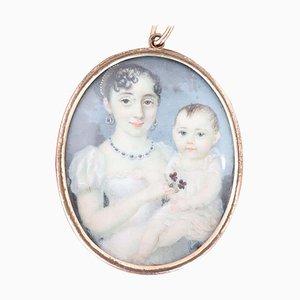 Antique Miniature Painted Portrait of Children, 1850s
