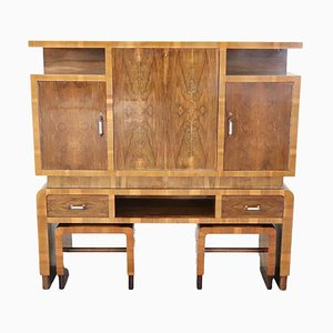 Large Art Deco Bar Cabinet with Stools, 1930s, Set of 3