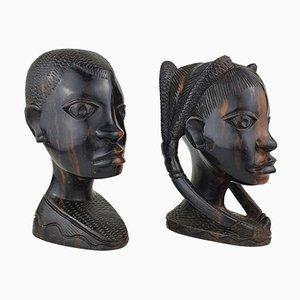 Esculturas de cabezas vintage de madera de ébano, años 70. Juego de 2