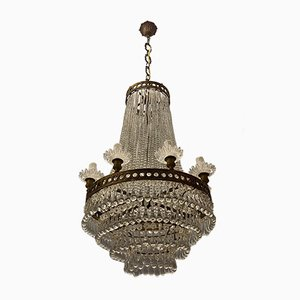 Large Murano Glass Crystal Beaded Chandelier