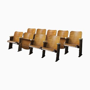 Plywood Folding Theatre or Stadium Chairs, Set of 9