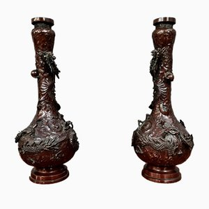 Bronze Vasen mit Medina Patina, China, 19. Jh., 2er Set