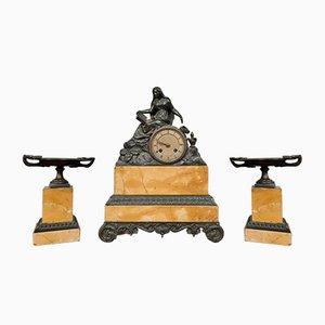 Napoleon III Uhr Zierleiste aus patinierter Bronze, 3er Set