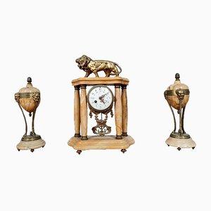 Pendulum Triptych aus Siena Marmor und Goldener Bronze, 3er Set