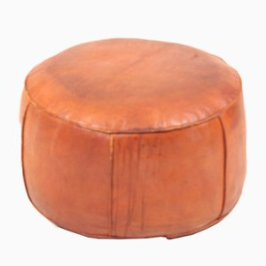 Mid-Century Pouf in Patinated Leather, Denmark, 1960s