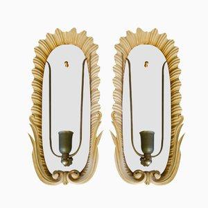 Apliques italianos de madera y espejo. Juego de 2