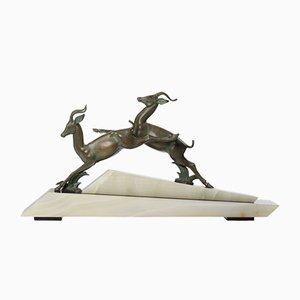 Antilopes Art Déco sur Socle en Marbre et Onyx