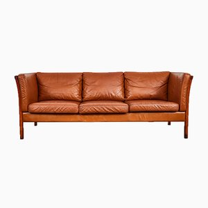 Danish Cognac Leather 3-Seater Sofa from Stouby, 1990s