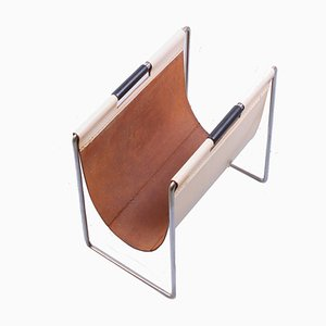 Chrome and White Leather Magazine Rack from Brabantia, 1960s