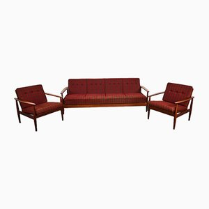 Mid-Century 4-Seater Sofa Bed in the Style of Grete Jalk, 1960s, Set of 3