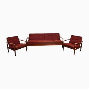 Mid-Century 4-Sitzer Schlafsofa im Stil von Grete Jalk, 1960er, 3er Set
