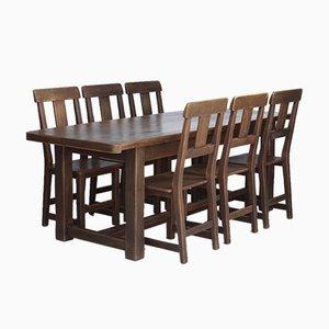 Rustic Solid Oak Dining Set, Set of 7