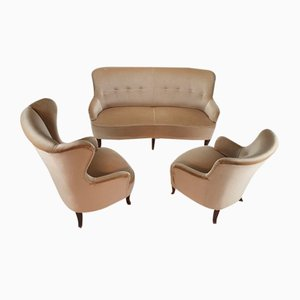 Mid-Century Chairs and Sofa in Velour, 1950s, Set of 3