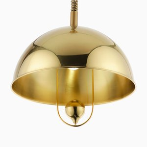 Vintage Pendant Lamp in Polished Brass by Florian Schulz, 1970s