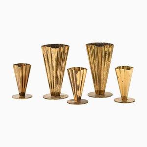 Vases by Gunnar Ander for Ystad Metall, Sweden, Set of 5