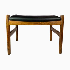 Stool in Black Leather and Rosewood, Denmark, 1960s