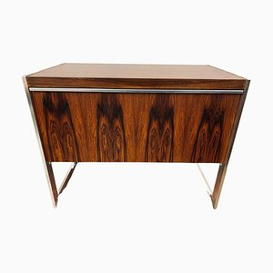 Danish Rosewood & Brushed Chrome Drinks Cabinet, 1960s