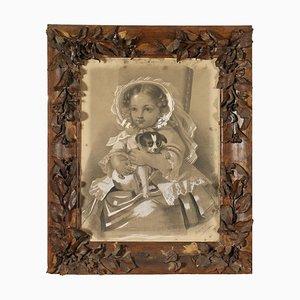 Porträt des kleinen Mädchens mit kleinem Hund, Bleistift und Holzkohle