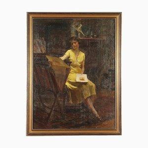 Ritratto femminile in studio, A. Guzzi, Olio su tela