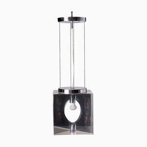 Plexiglas and Chromed Metal Lamp, Italy, 1960s