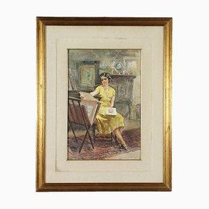 Ritratto femminile in studio d'arte, A. Guzzi, Olio su tela