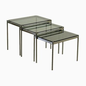 Chromed Metal and Smoked Glass Coffee Tables, Italy, 1980s, Set of 3