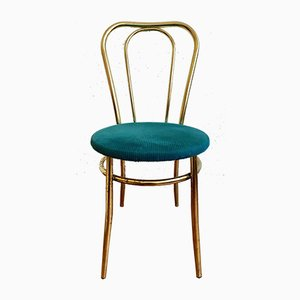 Golden Chair and Stool with a Turquoise Fabric Cushion, Set of 2