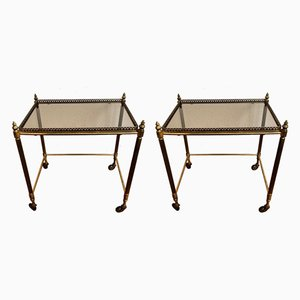 Mid-Century Antique Style Brass Serving Trolleys by Maison Baguès, Set of 2