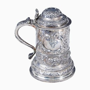 George I Rococo Silver Lidded Tankard by John Penfold