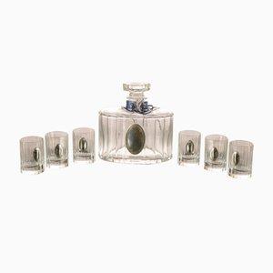 Likörset mit Flasche aus Kristallglas und versilberten Gläsern von Pierre Cardin, Frankreich, 1990er